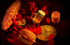 Cholesterol geblokkeerde slagader, medisch concept Royalty-vrije Stock Afbeelding