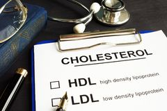 Cholesterol, hdl and ldl. Medical form on a desk. Royalty Free Stock Photography