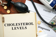 Cholesterol levels  written on a book. Stock Photography