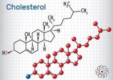 Cholesterol molekuła Formalnie chemiczna formuła m i molekuła ilustracja wektor
