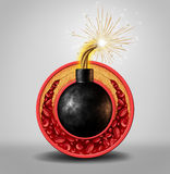 Cholesterol Time Bomb. And coronary artery disease danger as a medical concept with an ignited bomb inside a circular vein with gradual plaque formation as Royalty Free Illustration