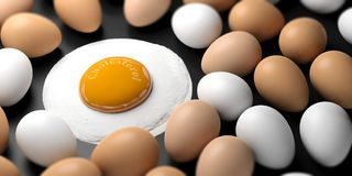 Cholesterol written on a fried egg`s yolk. 3d illustration. Eggs and word cholesterol written on a fried egg`s yolk. 3d illustration Royalty Free Stock Image