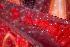 Cholesterolplaque in slagader, bloedvat met stromende bloedcellen Stock Afbeeldingen