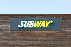 Subway logo on a facade. Cholet, France - June 25, 2016: Subway logo on a facade. Subway is an American fast food restaurant franchise that primarily sells Royalty Free Stock Photo