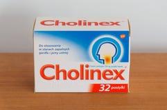 Cholinex 32 lusjes Cholinex is gebruikt supplement aan antibiotische behandeling van besmettingen van slijmerig royalty-vrije stock foto's