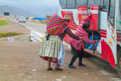 Cholita woman in the bus. Cholita woman in Bolivia and Peru street. Quechua women colorful clothes in Latin America Stock Images