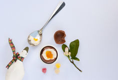 Cholocate Easter egg next to spoon with yolk, eggshell and candy. Chocolate Easter egg, eggshell and candy on the white background with little toy of goose and Stock Photos