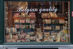 Cholocate Window Shop Brussels Belgium Stock Photography