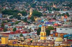 Cholula鸟瞰图在普埃布拉,墨西哥 免版税图库摄影