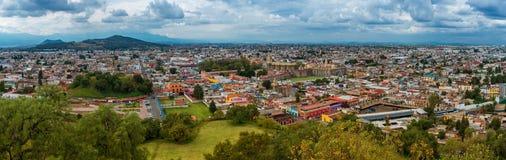 Cholula鸟瞰图在普埃布拉,墨西哥 库存照片