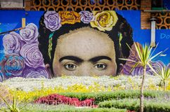 Cholula, Мексика - 31-ое октября 2018 Искусство улицы в стене с Frida Kahlo стоковые изображения rf