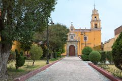 Cholula, Mexico is known for its high number of churches stock photography