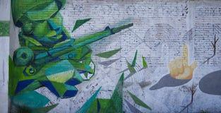 Cholula, Mexico-November 7, 2016: Mexican Graffiti of war Royalty Free Stock Images
