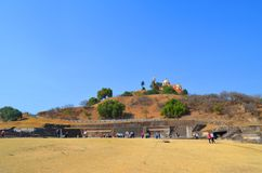 Cholula puebla pyramid. México. The Great Pyramid of Cholula, also known as Tlachihualtepetl.  Its base it's bigger than the ones found at the Pyramids of Royalty Free Stock Photos
