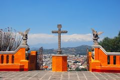 Cholula Pyramid in Puebla, Mexico. Church of Our Lady of Remedies on top of the Cholula Pyramid in Puebla, Mexico. Aerial view of the city and Popocatepetl Stock Images