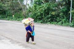 Chomthong, Chiang Mai, levar da avó de Tailândia 29-Oct-2017 fotografia de stock