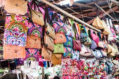 Chomthong, Chiang Mai, 29-Oct-2017 Stalls selling beautiful bags royalty free stock photography