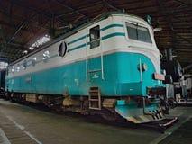 2016/08/28 - Chomutov,捷克共和国-捷克斯洛伐克的货物电力机车斯柯达E499 089从第20 centu的五十年代 库存照片