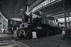 2016/08/28 - Chomutov, Czech republic - black steam locomotive 423.001. Velkej bejcek for local tracks in Czechoslovakia from the early 20th century in the Royalty Free Stock Image