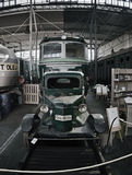 2016/08/28 - Chomutov, Czech republic - green rail trolley with an internal combustion engine from the early 20th century in the d. Epository of the National Royalty Free Stock Photo