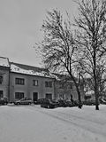 Chomutov, Czech republic - January 20, 2017: cars parked in front of houses in Lidicka street in winter Royalty Free Stock Photography