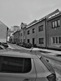 Chomutov, Czech republic - January 20, 2017: cars parked in front of houses in Lidicka street in winter Royalty Free Stock Photo