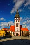 Chomutov, Czech republic - March 12, 2019: Mestska vez tower on the Anniversary Day of 20 Years of NATO Accession royalty free stock photo