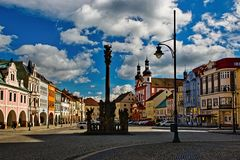Chomutov, Czech republic - March 12, 2019: Namesti 1. Maje square  on the Anniversary Day of 20 Years of NATO Accession. Chomutov, Czech republic - March 12 royalty free stock image