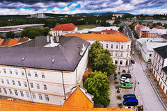 2016-06-18 Chomutov miasto, republika czech - północny widok od &-x27; Mestska Vez&-x27; wierza dziejowy Chomutov miasteczko Obraz Stock