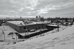 Chomutov, república checa - 20 de janeiro de 2017: Supermercado de Kaufland na rua de Mostecka quando visto da parte superior nev Fotos de Stock