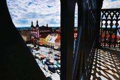 2016/06/18 Chomutov-stad, Tsjechische republiek - vierkante ' Namesti 1 Maje' Stock Afbeeldingen