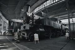 2016/08/28 - Chomutov Tjeckien - svart ångalokomotiv 423 001 Royaltyfri Bild