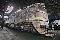 2016/08/28 - Chomutov, Tschechische Republik - sowjetische Diesellokomotive 679 1592 Stockfotografie
