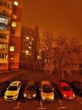 Chomutov, Ustecky kraj, republika czech - Styczeń 01, 2017: nocy fotografia Lidicka ulica w Chomutov mieście podczas nowego roku Fotografia Royalty Free