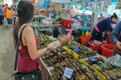 Chon Buri Province, Thaïlande - décembre 13,2018 : Les femmes choisissent d'acheter des crabes de boue avec des vendeurs au photo stock