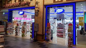 Chon Buri, Thailand - December 21, 2018: Exterior view of Boots pharmacy store, Terminal 21 Pattaya branch. The Boots pharmacy stock photo