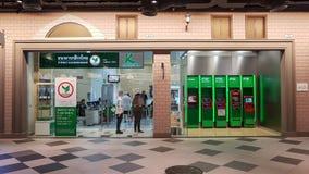 Chon Buri Thailand - December 21, 2018: Filial för Kasikornthai bank, Pattaya för terminal 21 KASIKORNBANKNA Allmänhet begränsade arkivfoto