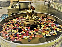 Chon Buri,Thailand-May 11,2019: Colorful  lotus candles floating in the water in Wat Phra Yai Temple .Big Buddha Statue Pattaya stock photo