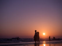 CHONBURI- April 23 : silhouette shadow of couple in love walking Royalty Free Stock Photo