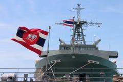 Chonburi, Tailandia 14 de agosto de 2016 - buque de guerra grande del combate en el mar azul profundo en la base de marina de gue Fotos de archivo libres de regalías