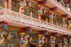 CHONBURI, THAÏLANDE - 11 juin 2019 : Vue de Wihan Thep Sathit Phra Ki Ti Chaloem ou de Dragon Chinese Temple rouge image stock