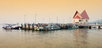 Panorama view of koh Loi pier for tourist go to koh sichang Stock Images