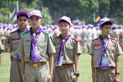 Chonburi, Thailand - April 4,2015 in Vajiravudh-Pfadfinder Camp im 20. NATIONALEN PFADFINDER-FEST THAILANDS Stockfotografie