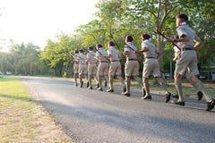 Chonburi, Thailand - April 4,2015 in Vajiravudh-Pfadfinder Camp im 20. NATIONALEN PFADFINDER-FEST THAILANDS Lizenzfreie Stockfotos