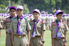 Chonburi, Thailand - April 4,2015 in Vajiravudh Scout Camp in 20th THAILAND NATIONAL SCOUT JAMBOREE. Chonburi, Thailand - April 4: unidentified Thai Scout in Stock Photography