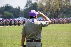 Chonburi, Thailand - April 4,2015 in Vajiravudh Scout Camp in 20th THAILAND NATIONAL SCOUT JAMBOREE. Chonburi, Thailand - April 4: unidentified Thai Scout in Royalty Free Stock Images