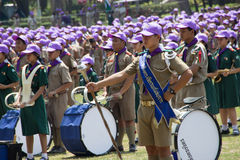 Chonburi, Thailand - April 4,2015 in Vajiravudh Scout Camp in 20th THAILAND NATIONAL SCOUT JAMBOREE. Chonburi, Thailand - April 4: unidentified Thai Scout in Stock Images
