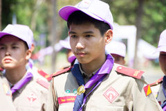 Chonburi, Thailand - April 4,2015 in Vajiravudh Scout Camp in 20th THAILAND NATIONAL SCOUT JAMBOREE. Chonburi, Thailand - April 4: unidentified Thai Boy Scout in Royalty Free Stock Photos