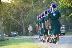 Chonburi, Thailand - April 4,2015 in Vajiravudh Scout Camp in 20th THAILAND NATIONAL SCOUT JAMBOREE. Chonburi, Thailand - April 4: unidentified Thai Girl Scout Stock Photo