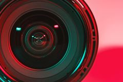 CHONBURI, THAILAND - August, 2018 : Front of lens camera and light shade color from two flash. royalty free stock photos